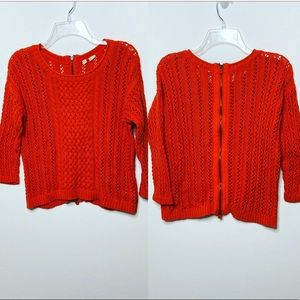 Moth Cable Knit Chunky Back Full Zipper Sweater